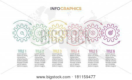 Business infographics. Timeline with 6 gears, cogwheels
