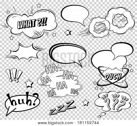 Comic speech bubbles set, wording sound effect set design for comic background, strip. Comic Book Bang cloud, pow sound and cool exclamation, bomb pow sound