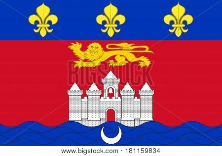 Flag of Bordeaux is a port city on the Garonne River in the Gironde department in southwestern France. poster
