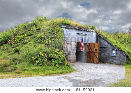 Entrance to world war II gun bunker on Kodiak Island AK.