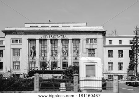 BUCHAREST ROMANIA - APR 1 2016: Black and white image of Faculty of Law Law school in Bucharest Romania part of the University of Bucharest facade located on the Bulevardul Mihail Kogalniceanu avenue