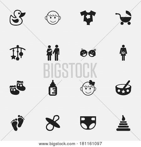Set Of 16 Editable  Icons. Includes Symbols Such As Cheerful Child, Adorn, Merry Children And More. Can Be Used For Web, Mobile, UI And Infographic Design.