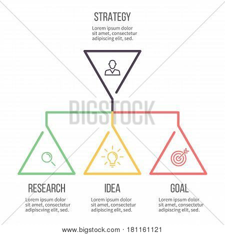 Business infographics. Presentation with 3 steps, options. Hierarchical infographic template.