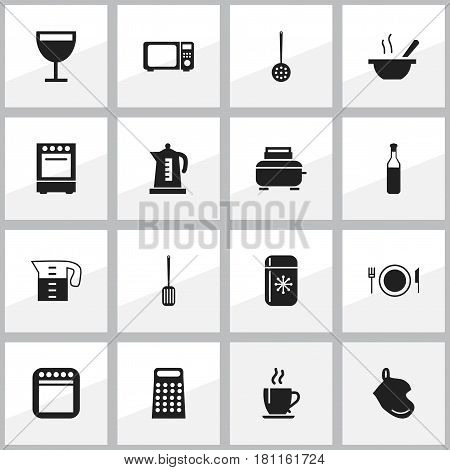 Set Of 16 Editable Restaurant Icons. Includes Symbols Such As Bowl, Strainer, Wave Oven And More. Can Be Used For Web, Mobile, UI And Infographic Design.