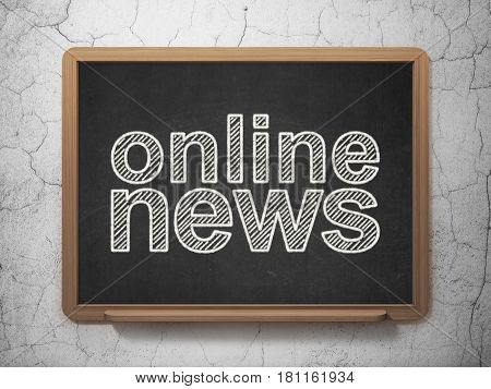 News concept: text Online News on Black chalkboard on grunge wall background, 3D rendering