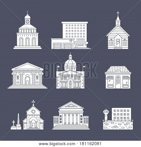 Vector illustration of different govenmental buildings. Silhouette vector illustration. City architecture concept. Government buildings.