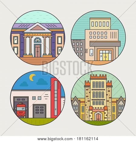 Vector illustration of different govenmental buildings including museum, university, fire department. Flat style vector illustration. City architecture concept. Government buildings.