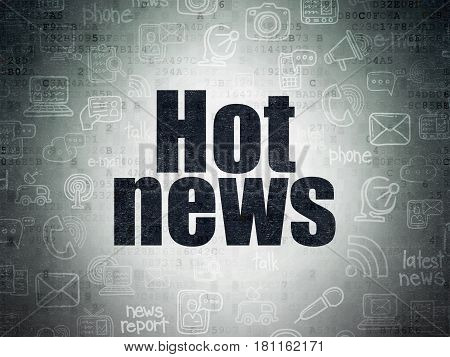 News concept: Painted black text Hot News on Digital Data Paper background with   Hand Drawn News Icons