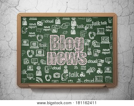 News concept: Chalk Pink text Blog News on School board background with  Hand Drawn News Icons, 3D Rendering