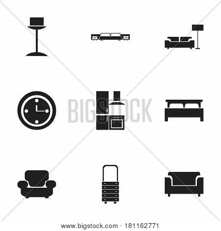 Set Of 9 Editable Interior Icons. Includes Symbols Such As Watch, Bearings, Mattress And More. Can Be Used For Web, Mobile, UI And Infographic Design.