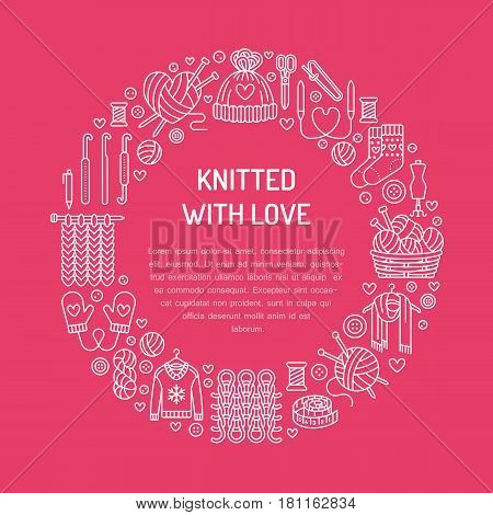 Knitting, crochet, hand made banner illustration. Vector line icon knitting needle, hook, scarf, socks, pattern, wool skeins and other DIY equipment. Yarn or tailor store template with place for text.