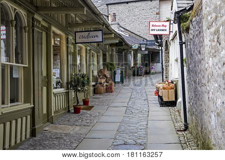 KENDAL UK - APRIL 6TH 2017: The New Shambles in the historic town of Kendal in Cumbria UK on 6th April 2017.