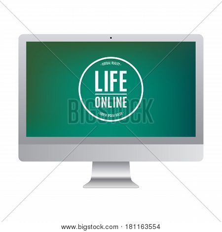 computer grey color with colored screen isolated on white background. stock vector illustration eps10