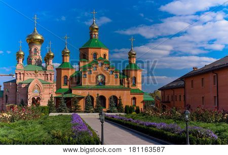 Orthodox monastery in summer against the blue sky