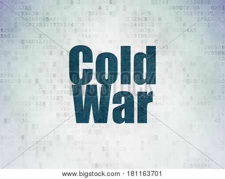 Politics concept: Painted blue word Cold War on Digital Data Paper background
