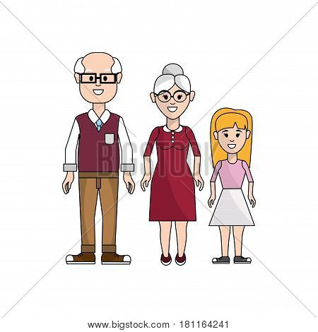 grandparents with their granddaughter icon, vector illustration design