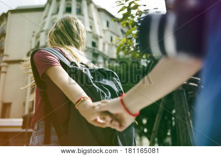 Photo Gradient Style with Woman holding boyfriend's hand traveling