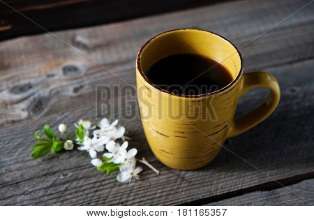 Coffee Cup On Garden Table.