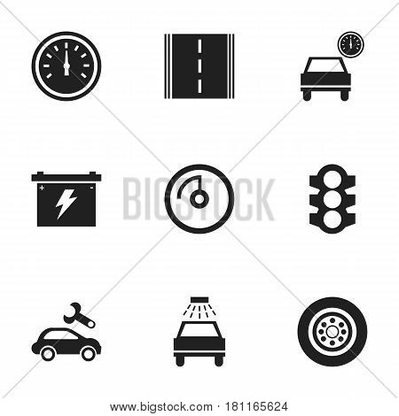 Set Of 9 Editable Car Icons. Includes Symbols Such As Car Lave, Tire, Stoplight And More. Can Be Used For Web, Mobile, UI And Infographic Design.