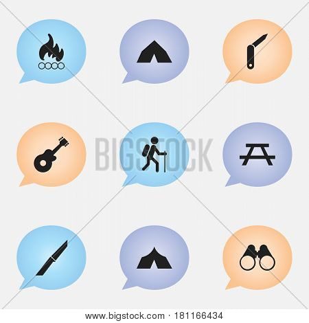 Set Of 9 Editable Travel Icons. Includes Symbols Such As Desk, Refuge, Gait And More. Can Be Used For Web, Mobile, UI And Infographic Design.
