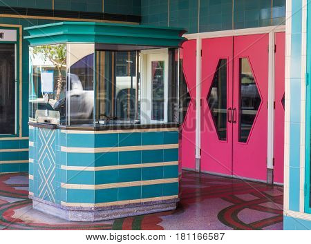 Pink Doors & Ticket Booth To Closed Theater