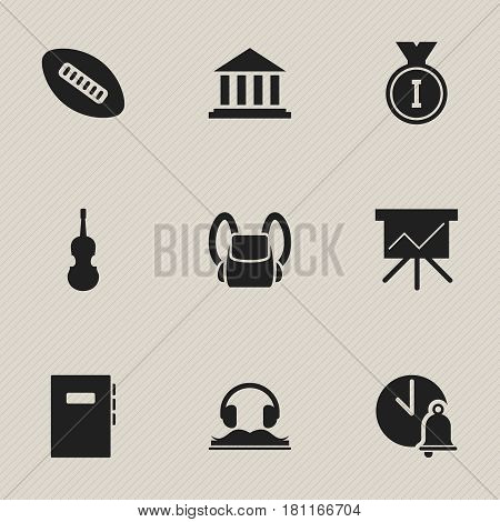 Set Of 9 Editable Science Icons. Includes Symbols Such As Oval Ball, Fiddle, School Bell And More. Can Be Used For Web, Mobile, UI And Infographic Design.