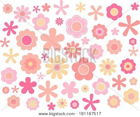 60's 70's cute colorful flowers set Spring, vector