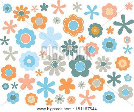60's 70's cute colorful flowers set Europian, vector