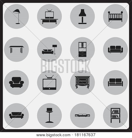 Set Of 16 Editable Furnishings Icons. Includes Symbols Such As Lamp, Settee, Illuminant And More. Can Be Used For Web, Mobile, UI And Infographic Design.