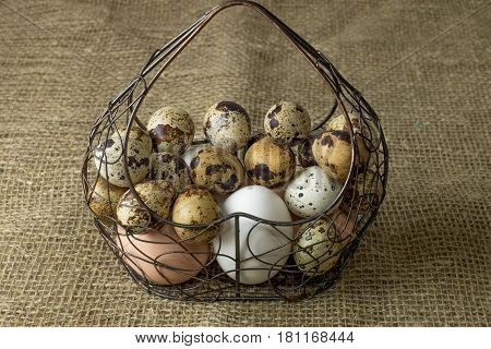 a lot of chicken eggs and quail eggs beige and white lies of a metal structure in the shape of a heart lying on a wooden table covered with burlap