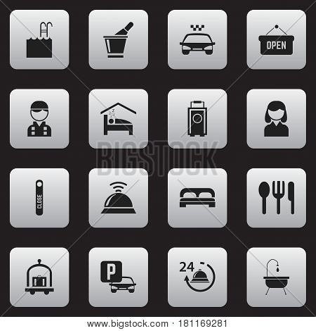 Set Of 16 Editable Motel Icons. Includes Symbols Such As Bedroom, Reception, Bed And More. Can Be Used For Web, Mobile, UI And Infographic Design.