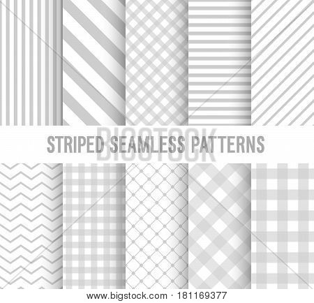 Striped seamless creative patterns collection. Vector illustration.