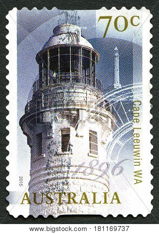 AUSTRALIA - CIRCA 2015: A used postage stamp from Australia depicting an image of the lighthouse at Cape Leeuwin - the most South-Westerly mainland point of Australia circa 2015.