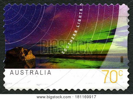 AUSTRALIA - CIRCA 2014: A used postage stamp from Australia depicting an image of the beautiful Southern Lights circa 2014.