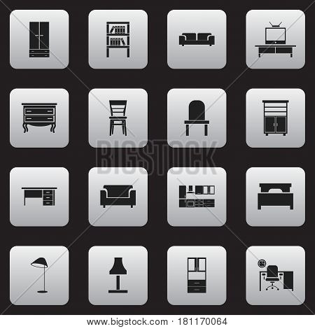 Set Of 16 Editable Furnishings Icons. Includes Symbols Such As Glim, Couch, Office And More. Can Be Used For Web, Mobile, UI And Infographic Design.