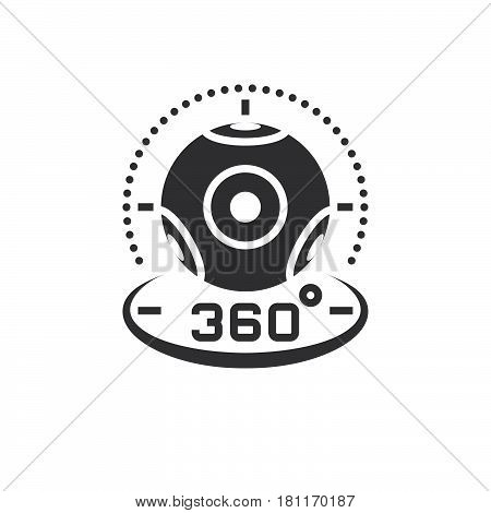 360 Degree Panoramic Video Camera Icon Vector, Virtual Reality Device Solid Logo Illustration, Picto