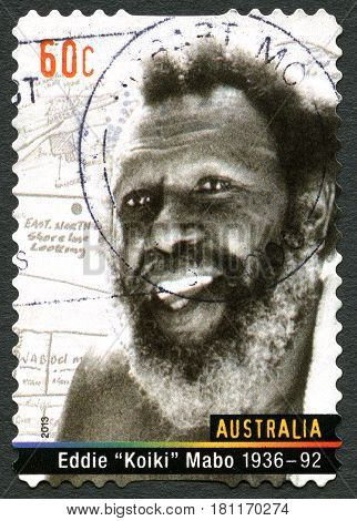 AUSTRALIA - CIRCA 2013: A used postage stamp from Australia depicting a portrait of Eddie Mabo - known for his role in campaigning for Indigenous land rights circa 2013.