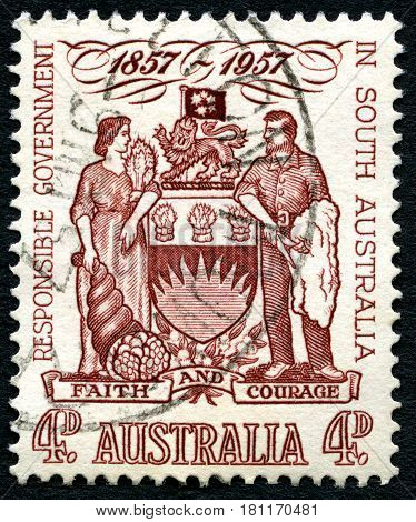 AUSTRALIA - CIRCA 1957: A used postage stamp from Australia celebrating the 100th Anniversary of Responsible Government in South Australia circa 1957.