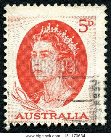 AUSTRALIA - CIRCA 1963: A used postage stamp from Australia depicting an portrait of Queen Elizabeth II circa 1963.