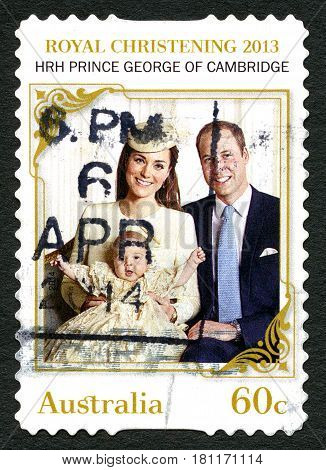 AUSTRALIA - CIRCA 2013: A used postage stamp from Australia celebrating the Christening of HRH Prince George of Cambridge pictred with his parents William and Kate circa 2013.