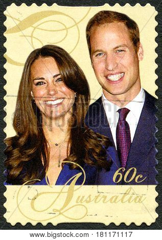 AUSTRALIA - CIRCA 2011: A used postage stamp from Australia depicting an image of Royals Prince William and Princess Kate circa 2011.