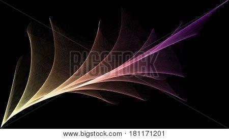 3D rendered veil looks like plume on black background