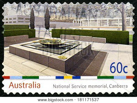 AUSTRALIA - CIRCA 2010: A used postage stamp from Australia depicting an illustration of the National Service Memorial in Canberra circa 2010.