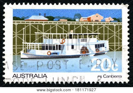 AUSTRALIA - CIRCA 1979: A used postage stamp from Australia depicting an illustration of the PS Canberra Passenger Paddlesteamer circa 1979.