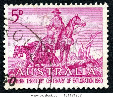 AUSTRALIA - CIRCA 1960: A used postage stamp from Australia depicting an illustration of an Overlander and celebrating 100 years of Northern Territory Exploration circa 1960.