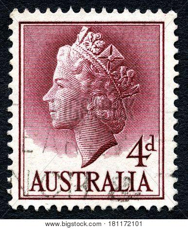 AUSTRALIA - CIRCA 1957: A used postage stamp from Australia depicting a portrait of Queen Elizabeth II circa 1957.
