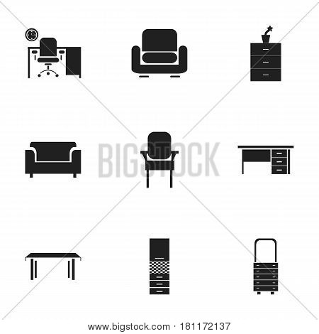 Set Of 9 Editable Home Icons. Includes Symbols Such As Stool, Stillage, Plant Pot And More. Can Be Used For Web, Mobile, UI And Infographic Design.
