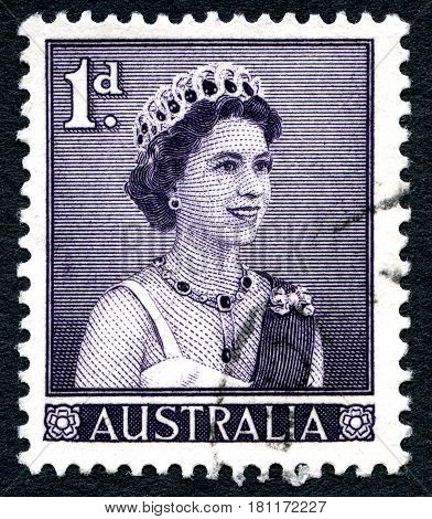 AUSTRALIA - CIRCA 1959: A used postage stamp from Australia depicting a portrait of Queen Elizabeth II circa 1959.