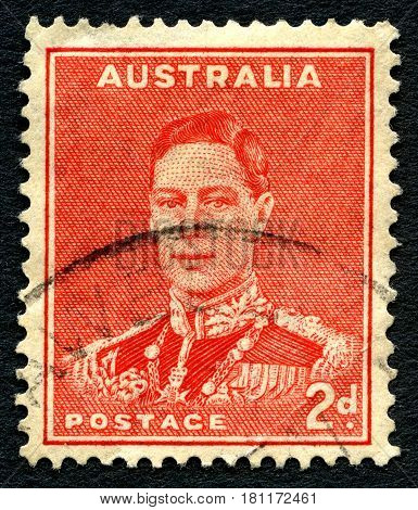 AUSTRALIA - CIRCA 1937: A used postage stamp from Australia depicting a portrait of King George VI circa 1937.
