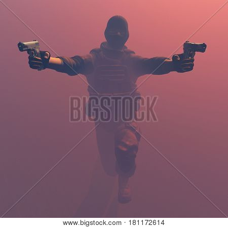 The man with the gun. ,3d render